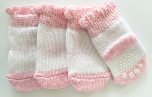 PAMPET / Puppe Love Dog Socks, Non Slip Pink & White, Small