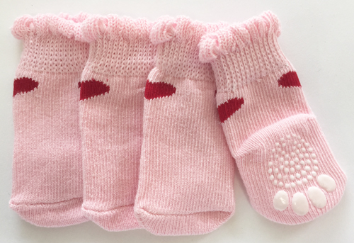 PAMPET / Puppe Love Dog Socks, Non Slip 1 Heart Pink, Small