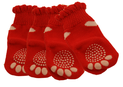 PAMPET / Puppe Love Dog Socks, Non Slip 2 Hearts Red, Small