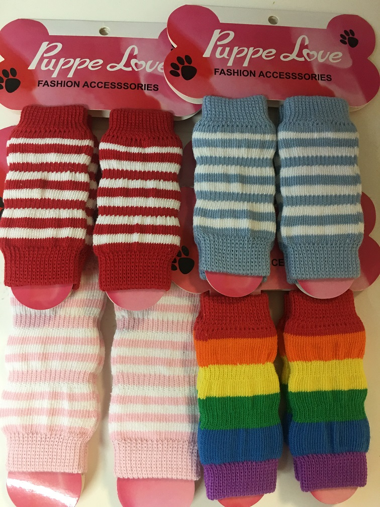 PAMPET / Puppe Love Dog Leg Warmers, Blue & White, Small