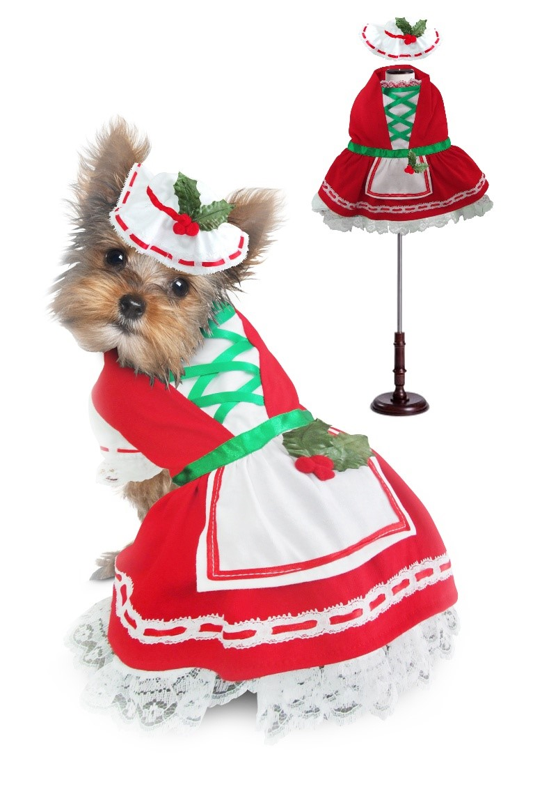 PAMPET / Puppe Love Dog Dress, Holly Christmas, Size 2
