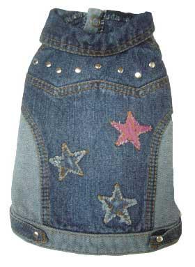 PAMPET / Puppe Love Dog Jacket, Denim Stars, Size 0