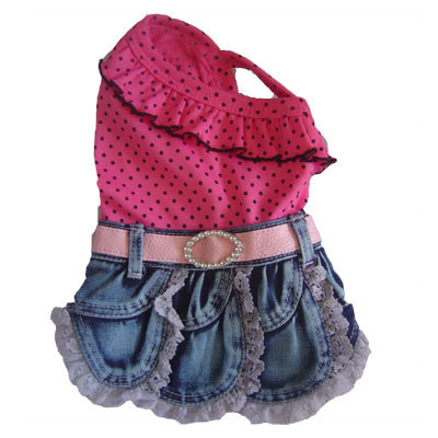 PAMPET / Puppe Love Dog Dress, Denim & Pink Polka Dot, Size 00