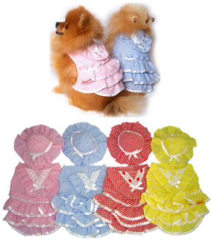 PAMPET / Puppe Love Dog Dress with Hat, Frill Blue, Size 5