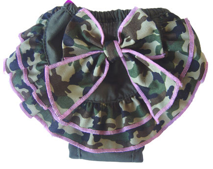 PAMPET / Puppe Love Dog Pants, Camo Bow, Size 00