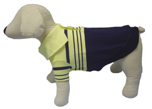 PAMPET / Puppe Love Dog Shirt, Polo Striped Blue & Yellow, Size 0