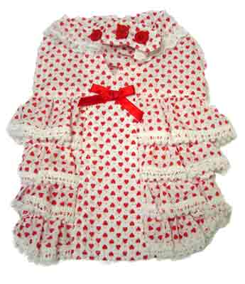 PAMPET / Puppe Love Dog Dress, Heart Frill, Size 0