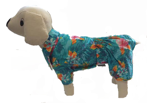 PAMPET / Puppe Love Dog Aloha Shirt & Shorts Set, Blue, Size 0