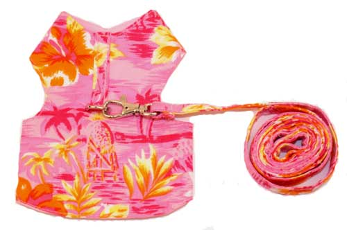 PAMPET / Puppe Love Dog Harness & Leash, Hawaiian Pink, Size 00