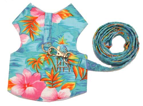 PAMPET / Puppe Love Dog Harness & Leash, Hawaiian Blue, Size 00