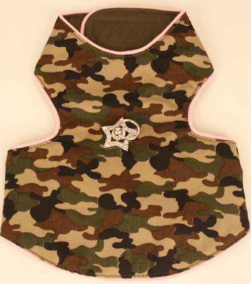 PAMPET / Puppe Love Dog Harness Vest & Leash with Genuine Swarovski Crystals, Camo with Pink Trim, Size 3