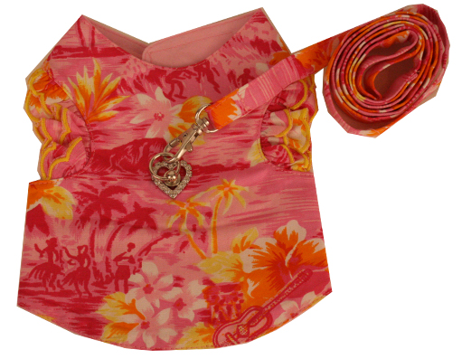 PAMPET / Puppe Love Dog Harness Vest & Leash with Heart Rhinestones, Hawaiian Pink with Ruffled Sleeves, Size 0