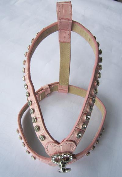 PAMPET / Puppe Love Dog Harness, Pink Leather Rhinestone, X-Small