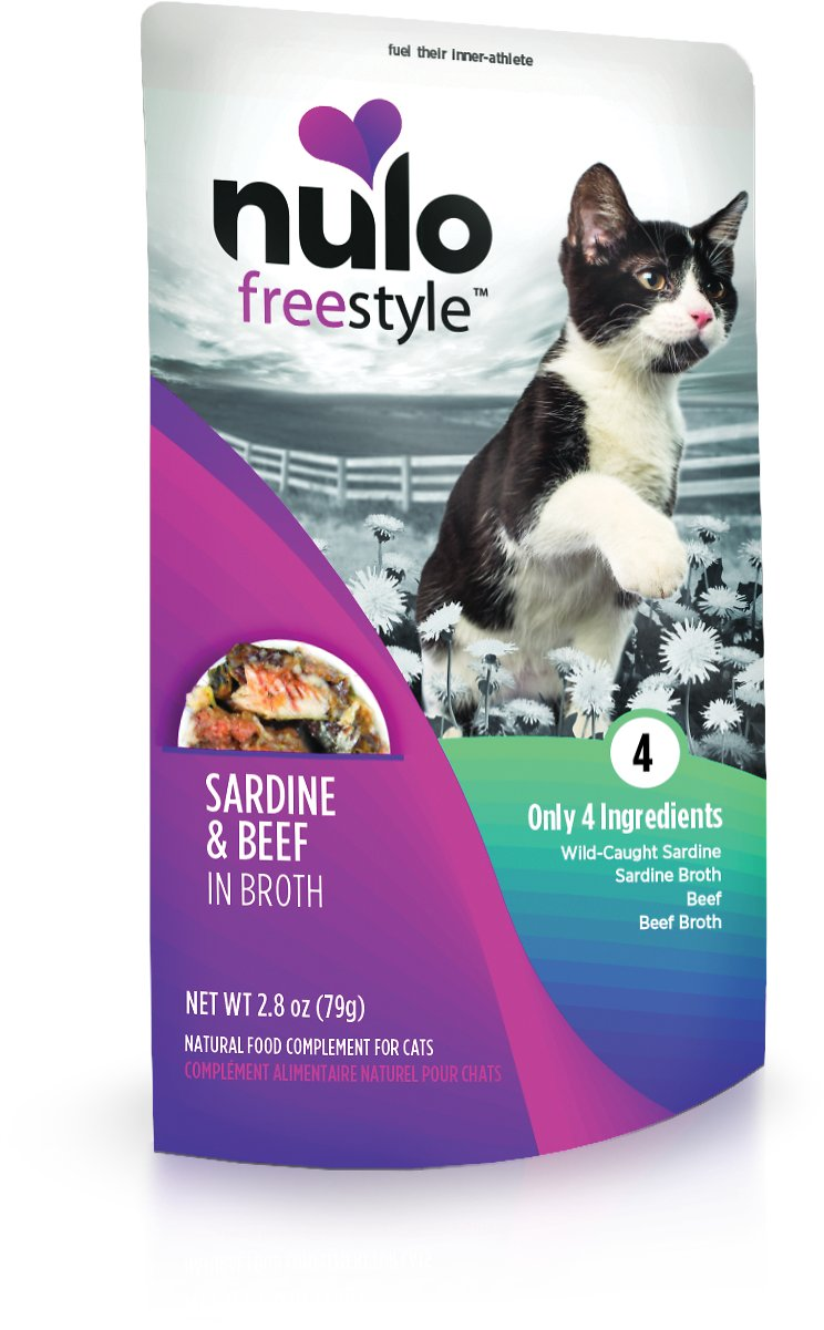 Nulo Cat Freestyle Pouch Sardine & Beef in Broth Cat Food Topper, 2.8-oz, 24-pk