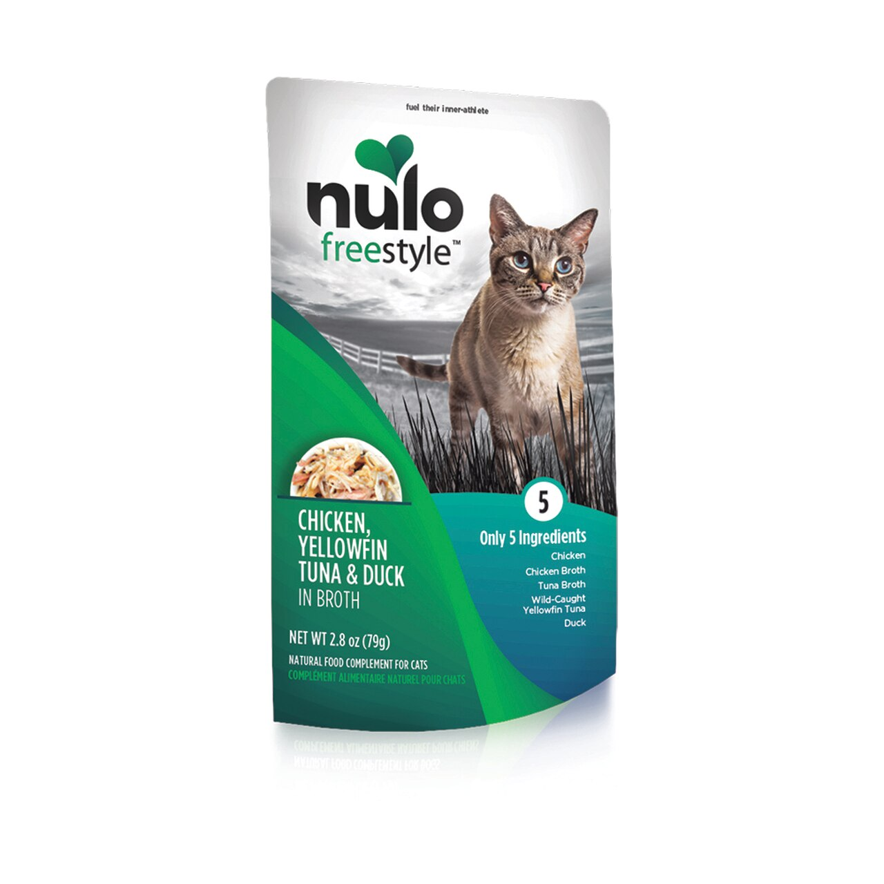 Nulo Cat Freestyle Pouch Chicken, Yellowfin Tuna & Duck in Broth Cat Food Topper, 2.8-oz, 24-pk