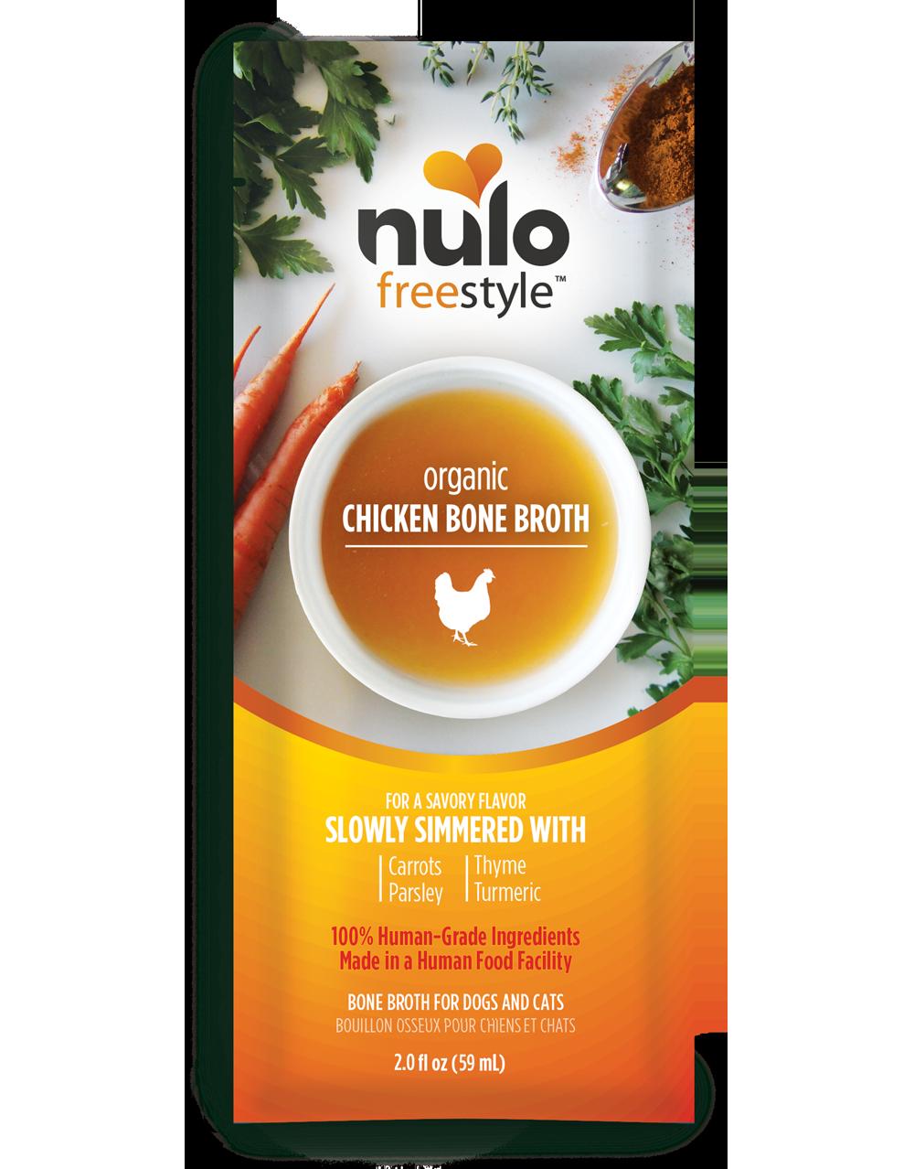 Nulo Freestyle Bone Broth Organic Chicken Dog & Cat Food Topper, 2-oz, 24-pk