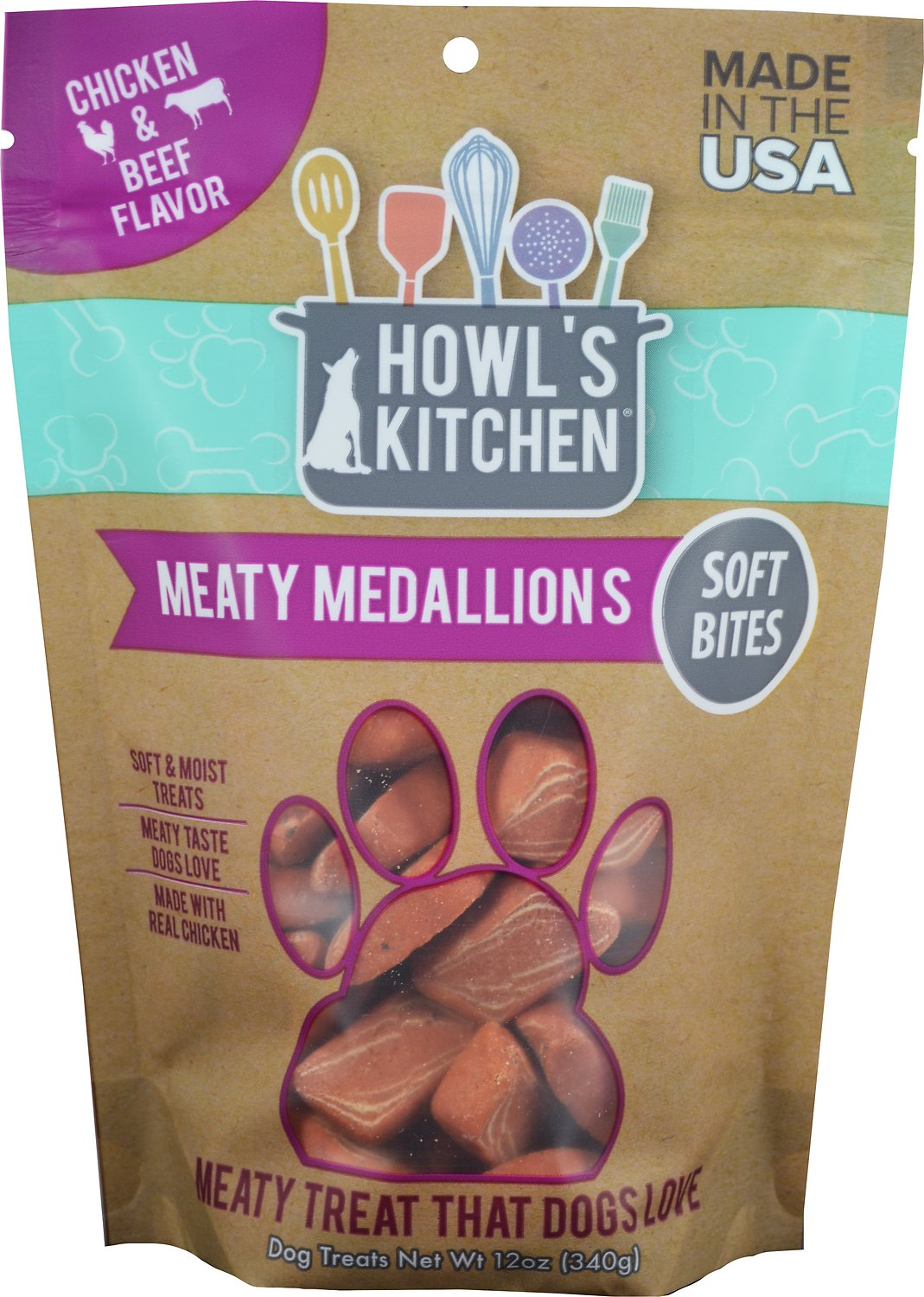 Howl's Kitchen Meaty Medallions Chicken & Beef Flavor Dog Treats, 12-oz