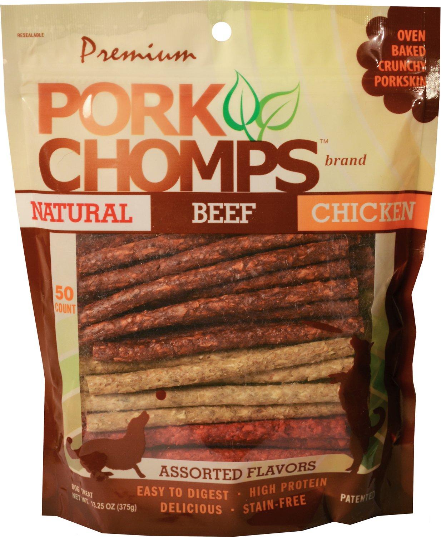 Premium Pork Chomps Munchy Sticks Dog Treats, 50 count