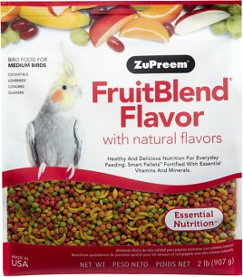 ZuPreem FruitBlend with Natural Fruit Flavors Medium Bird Food, 2-lb bag