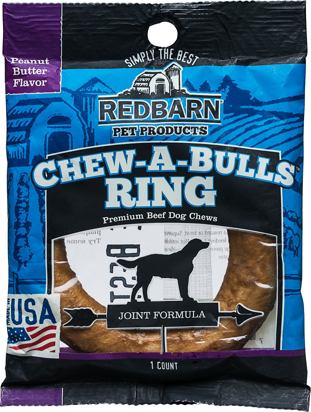 Redbarn Peanut Butter Flavor Joint Formula Chew-A-Bulls Ring Dog Treat, 1 count