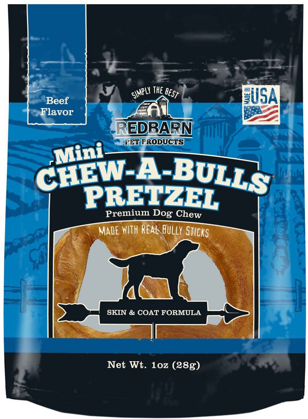 Redbarn Chew-A-Bulls Mini Pretzel Beef Flavor Dog Treat, 1 count