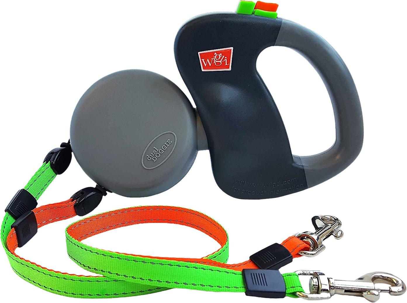 Wigzi Dual Doggie Retractable Leash, Green/Orange