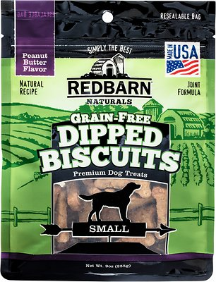 Redbarn Grain-Free Dipped Biscuits Peanut Butter Flavor Dog Treats, Small, 9-oz bag