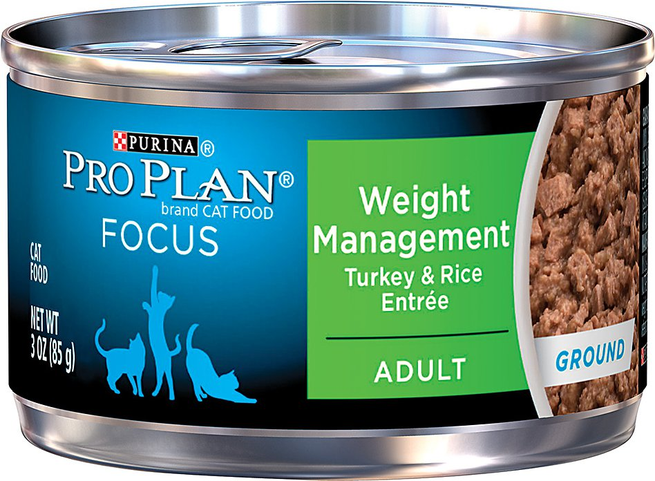Purina Pro Plan Focus Adult Weight Management Ground Turkey & Rice Entree Canned Cat Food, 3-oz