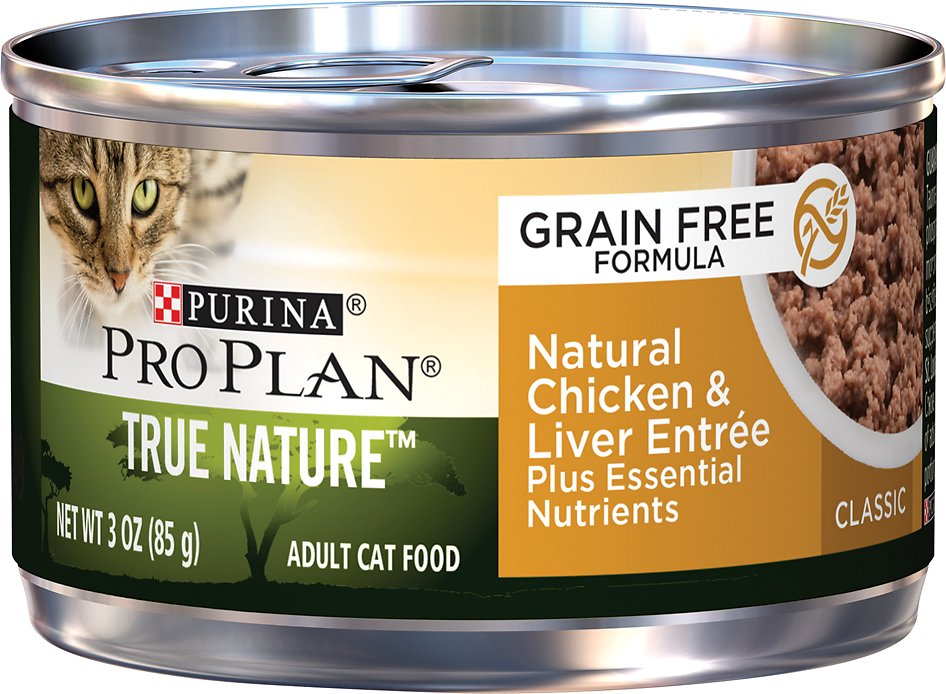Purina Pro Plan Classic Adult True Nature Chicken & Liver Entrée Grain-Free Canned Cat Food, 3-oz