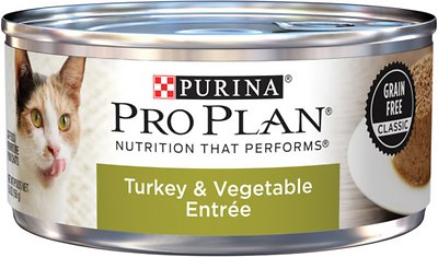 Purina Pro Plan Adult Grain-Free Classic Turkey & Vegetable Entrée Canned Cat Food, 5.5-oz, case of 24