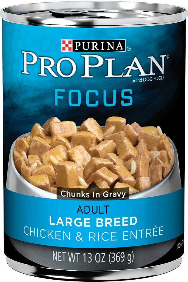 Purina Pro Plan Focus Adult Large Breed Chicken & Rice Entree Chunks in Gravy Canned Dog Food, 13-oz