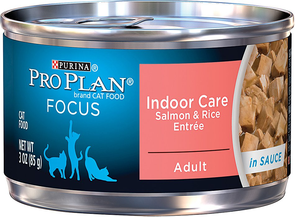 Purina Pro Plan Focus Adult Indoor Care Salmon & Rice Entree in Sauce Canned Cat Food, 3-oz, case of 24