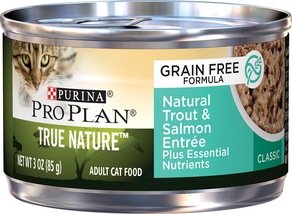 Purina Pro Plan Classic Adult True Nature Natural Trout & Salmon Entree Grain-Free Canned Cat Food, 3-oz, case of 24