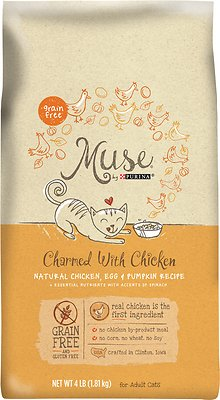 Purina Muse Charmed with Chicken Natural Chicken, Egg & Pumpkin Recipe Grain-Free Adult Dry Cat Food, 4-lb bag