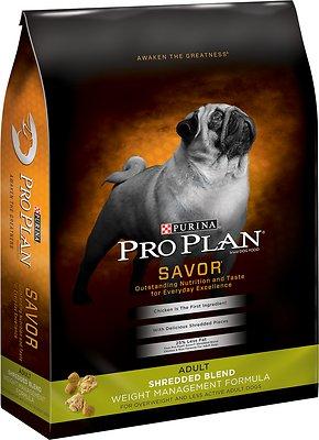 Purina Pro Plan Savor Adult Shredded Blend Weight Management Formula Dry Dog Food, 34-lb bag