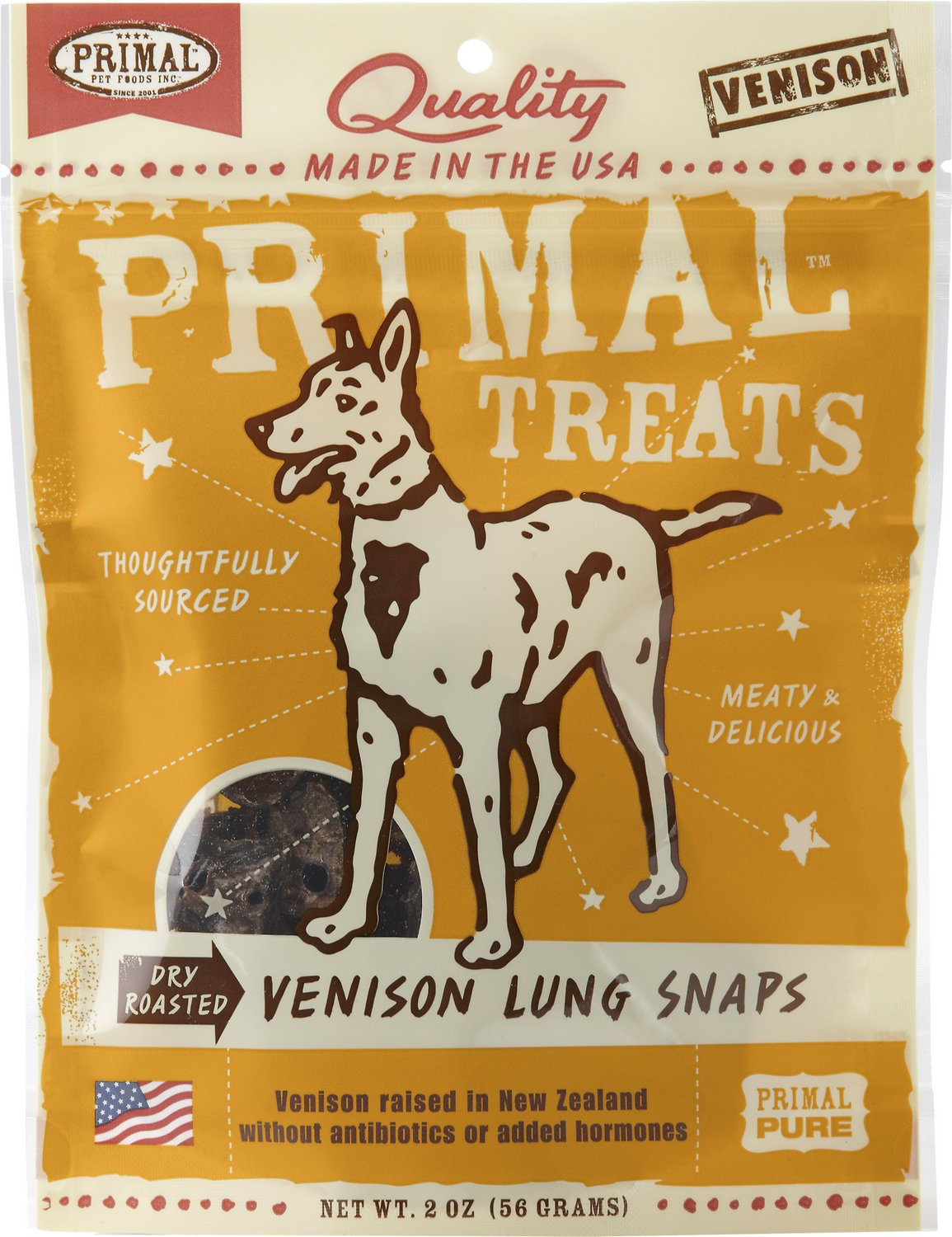 Primal Treats Venison Lung Snaps Dry Roasted Dog Treats, 2-oz bag