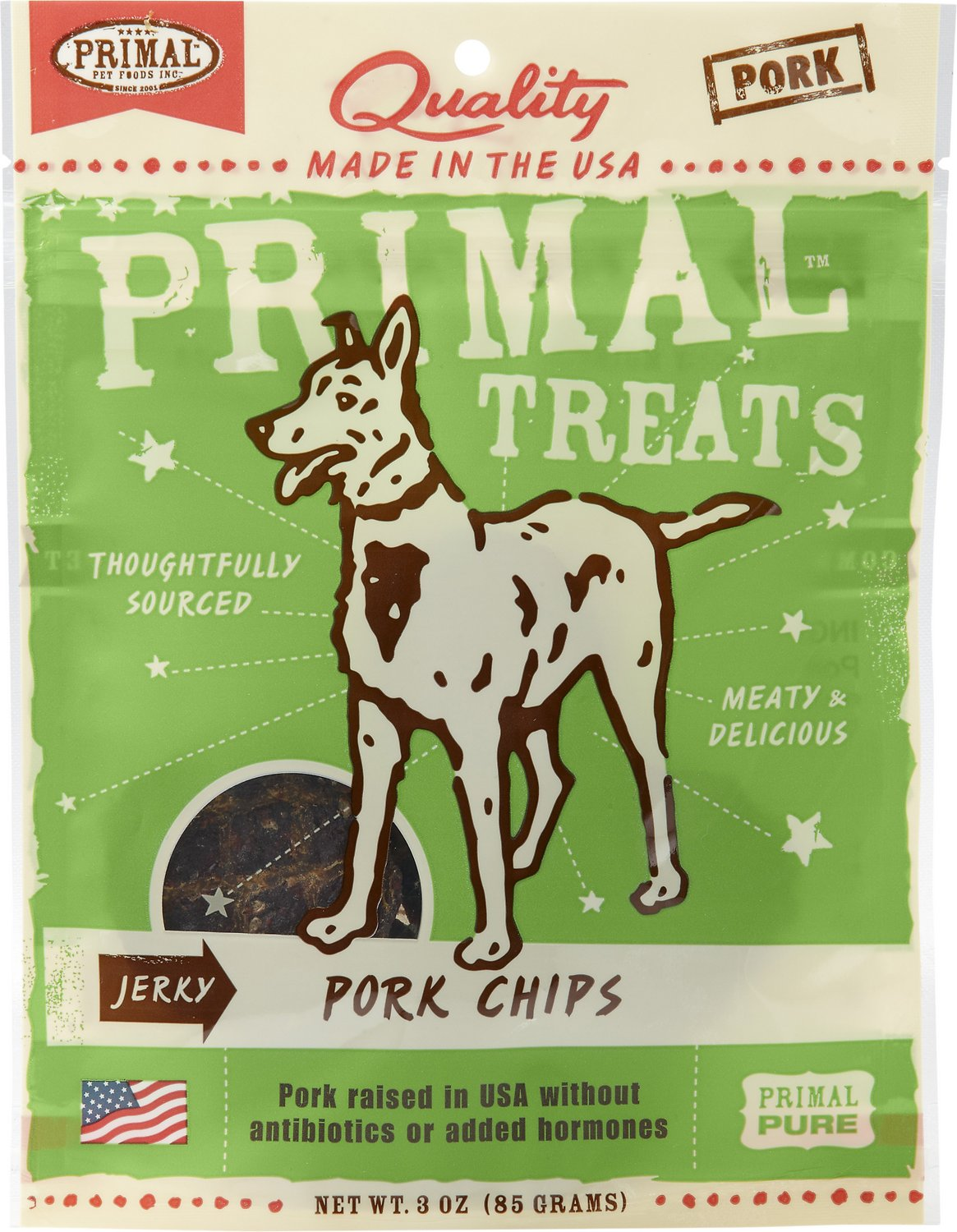 Primal Treats Pork Chips Jerky Dog Treats, 3-oz bag