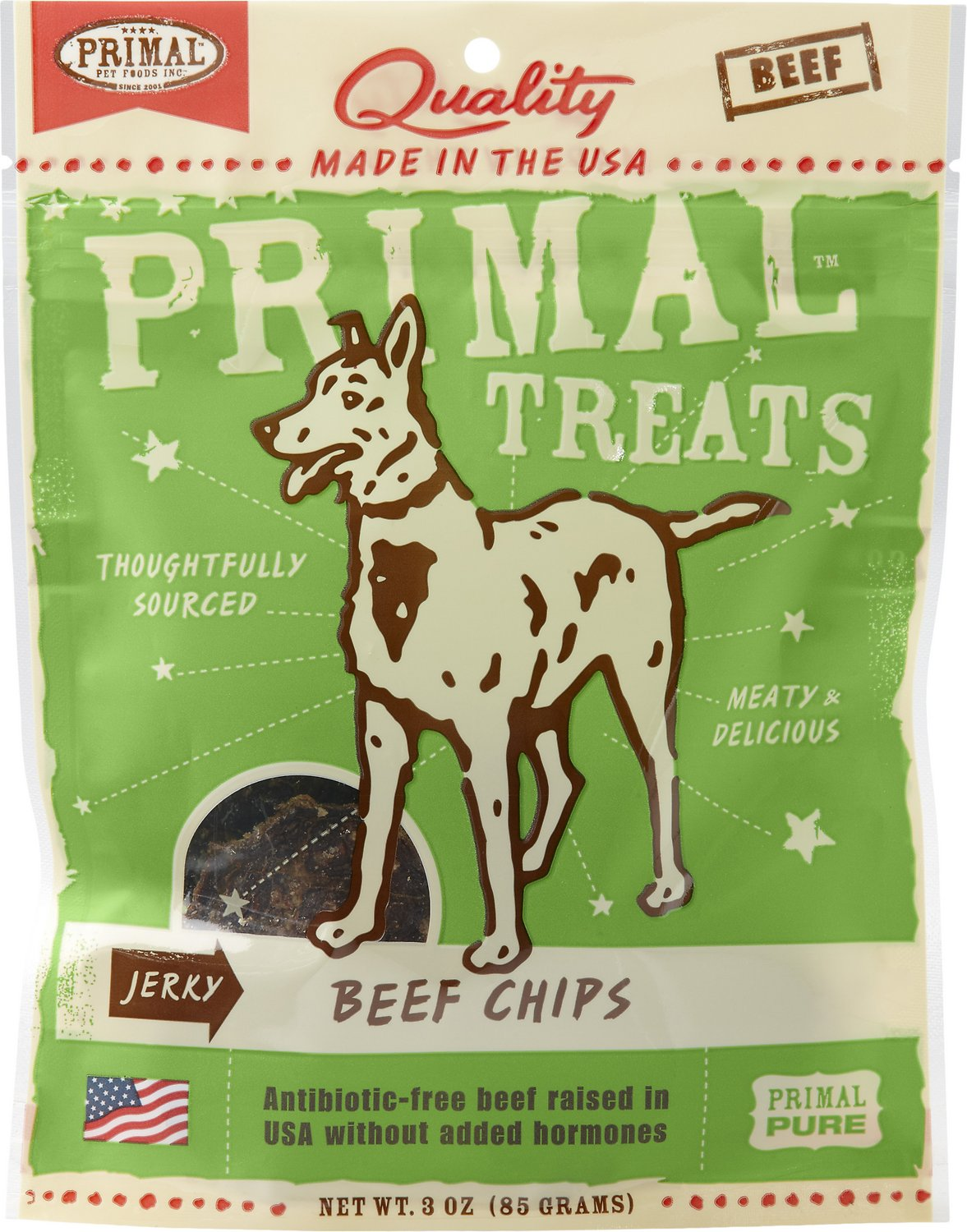 Primal Treats Beef Chips Jerky Dog Treats, 3-oz bag