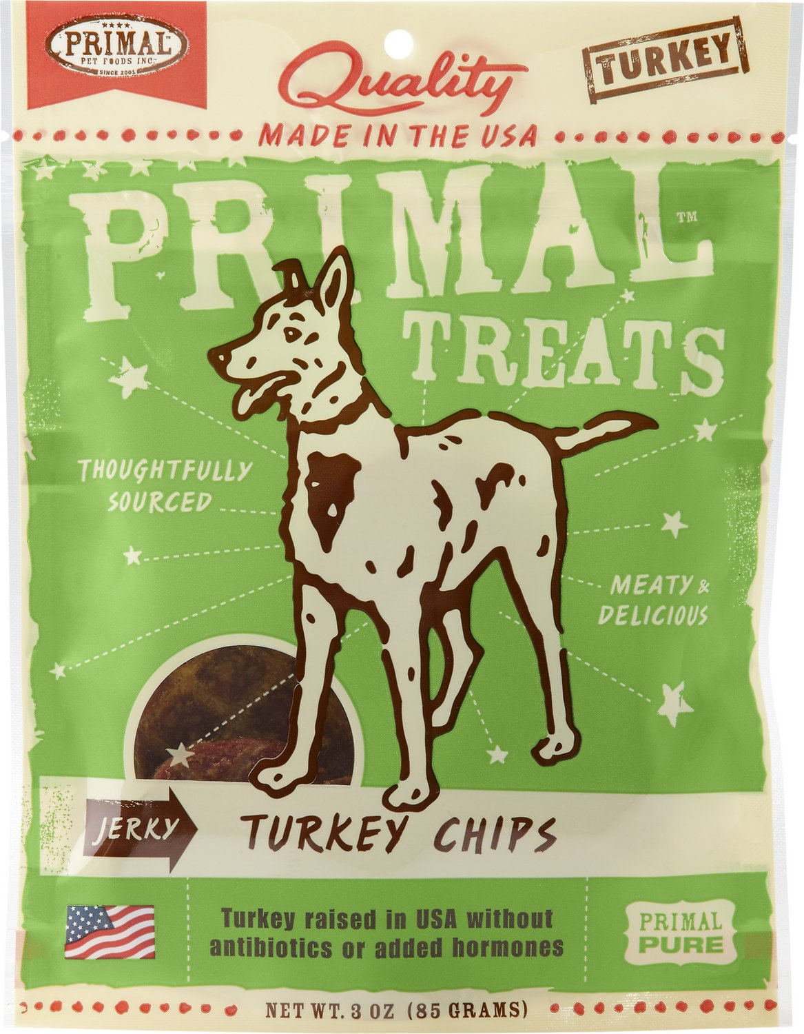 Primal Turkey Chips Jerky Dog Treats, 3-oz bag Image