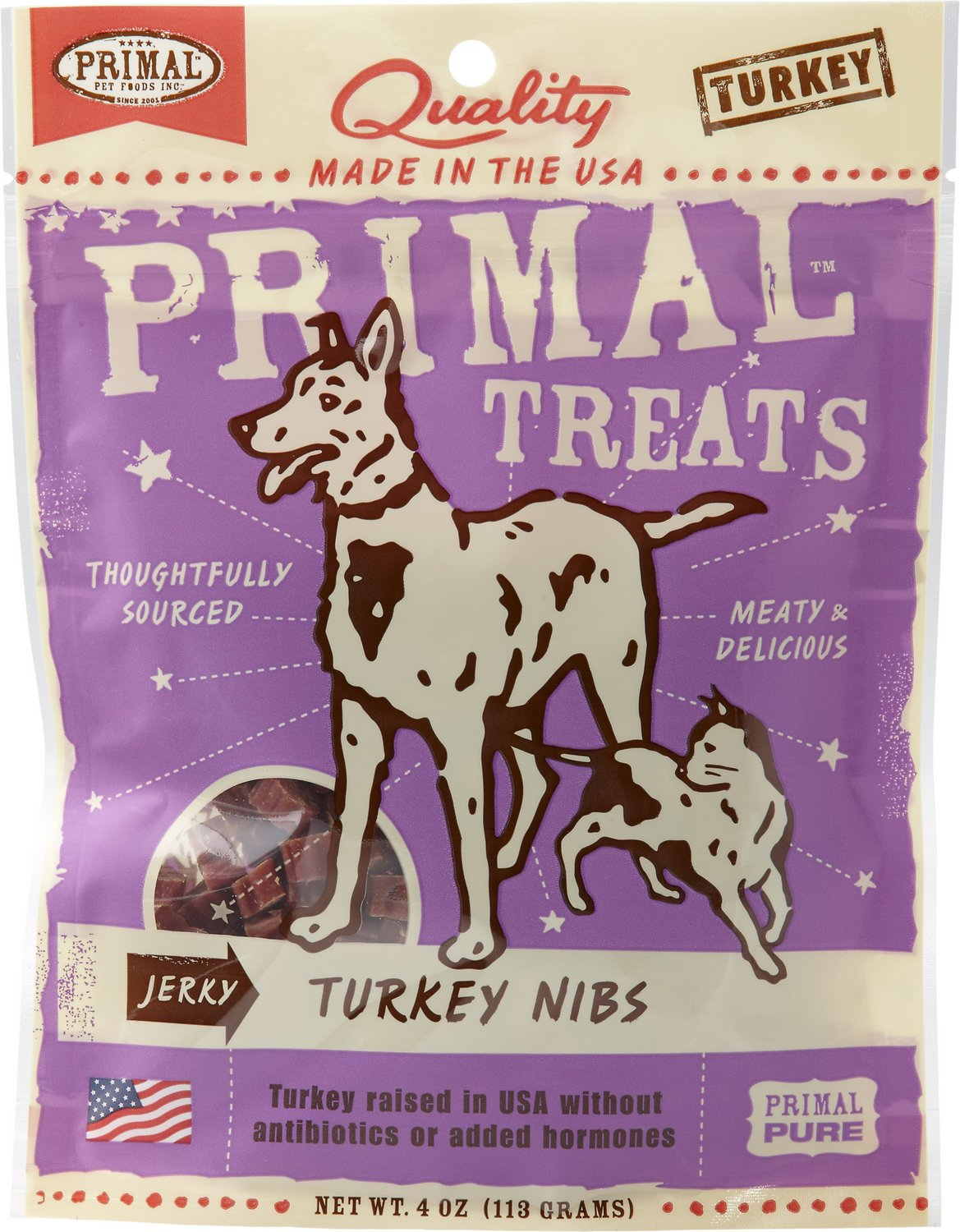 Primal Treats Turkey Nibs Jerky Dog & Cat Treats, 4-oz bag