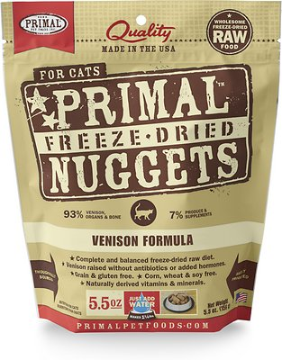 Primal Venison Nuggets Grain-Free Raw Freeze-Dried Cat Food, 5.5-oz bag