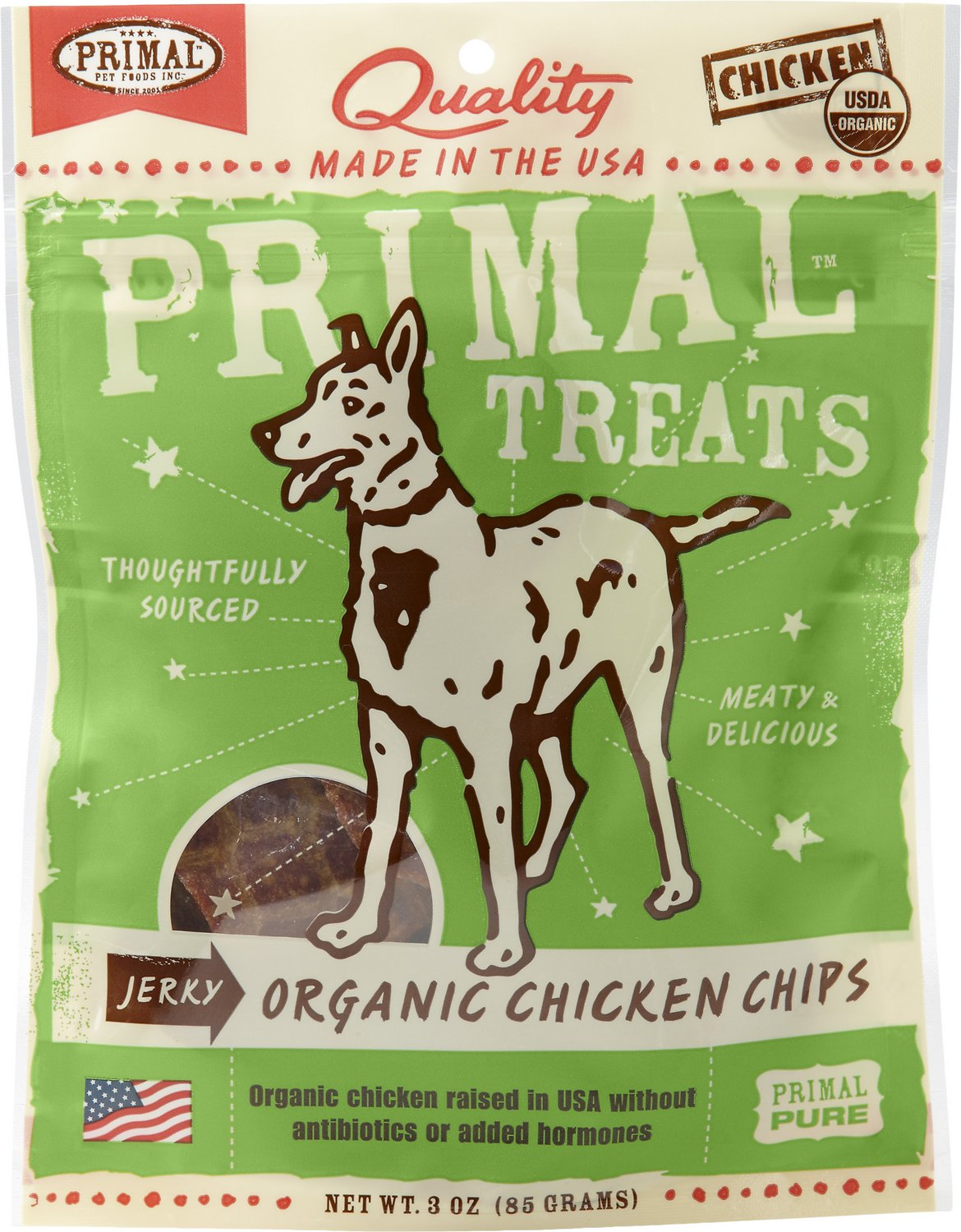 Primal Organic Chicken Chips Jerky Dog Treats, 3-oz bag Image