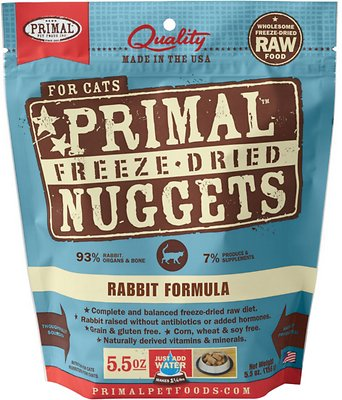 Primal Rabbit Formula Nuggets Grain-Free Raw Freeze-Dried Cat Food, 5.5-oz bag