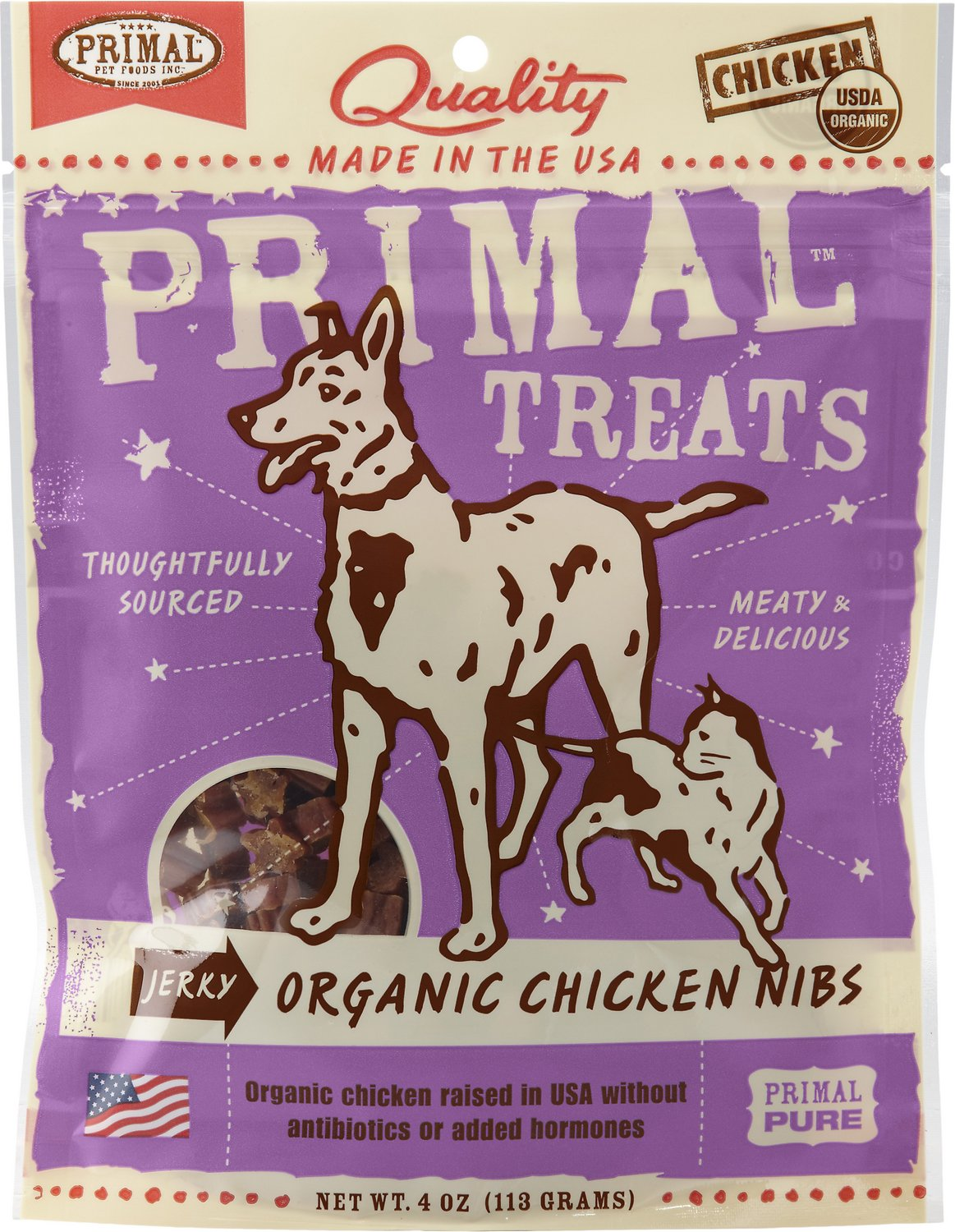 Primal Treats Organic Chicken Nibs Jerky Dog & Cat Treats, 4-oz bag