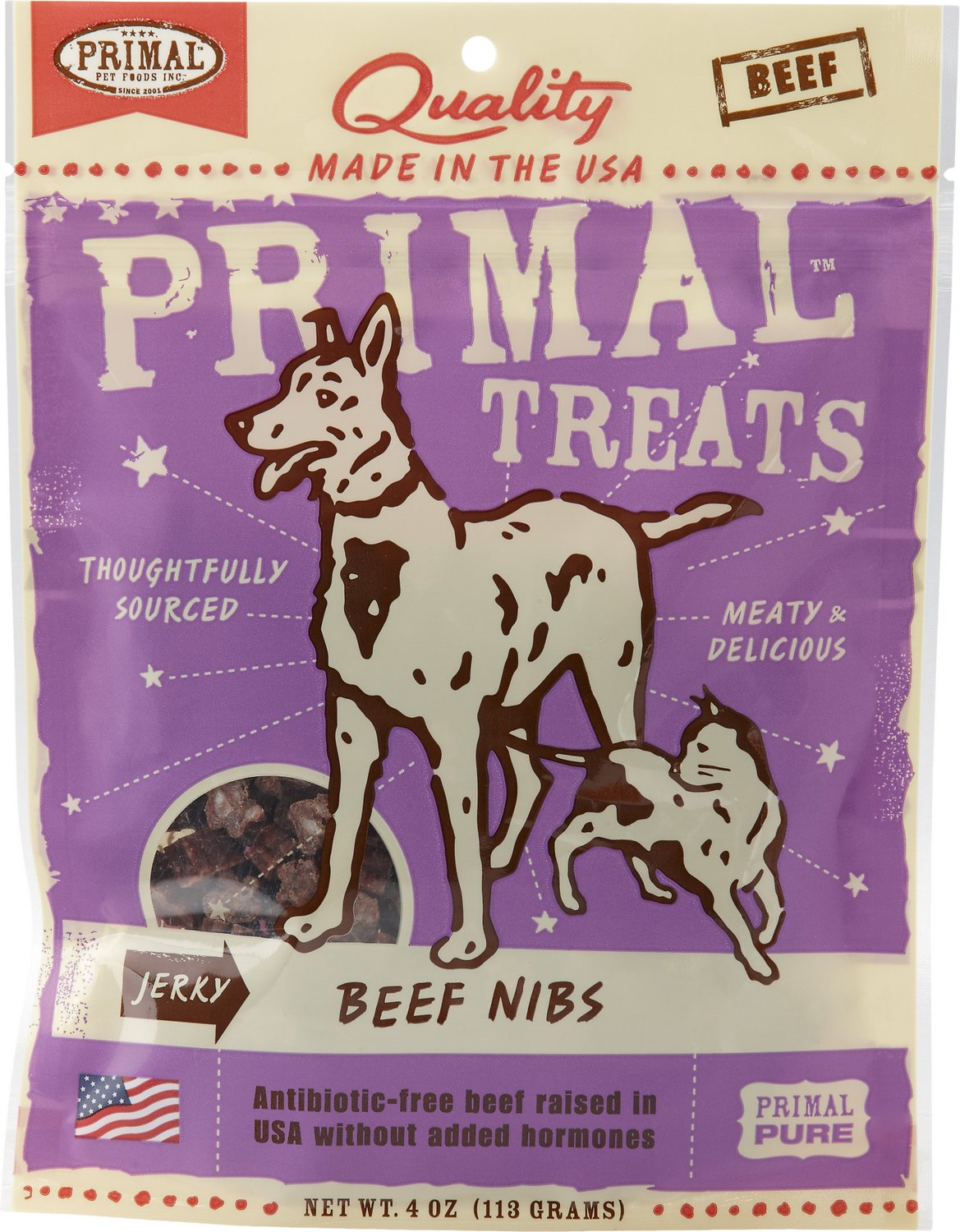 Primal Treats Beef Nibs Jerky Dog & Cat Treats, 4-oz bag
