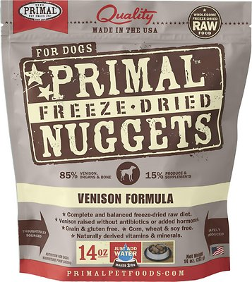 Primal Venison Formula Nuggets Grain-Free Raw Freeze-Dried Dog Food, 14-oz