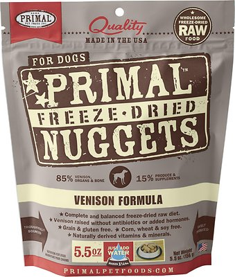 Primal Venison Formula Nuggets Grain-Free Raw Freeze-Dried Dog Food, 5.5-oz