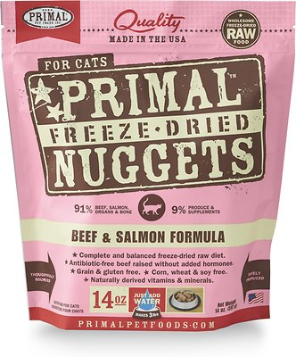 Primal Beef & Salmon Formula Nuggets Grain-Free Raw Freeze-Dried Cat Food, 14-oz bag Weights: 14 ounces, Size: 14-oz bag