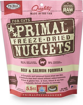 Primal Beef & Salmon Formula Nuggets Grain-Free Raw Freeze-Dried Cat Food, 5.5-oz bag