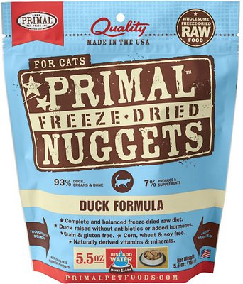 Primal Duck Formula Nuggets Grain-Free Raw Freeze-Dried Cat Food, 5.5-oz bag